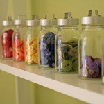 buttons in glass jars
