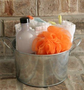 bath supplies bucket
