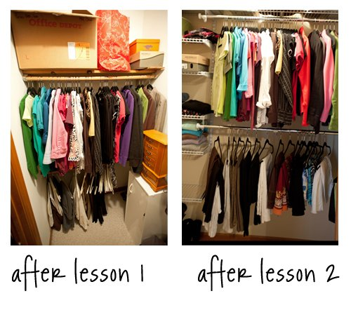 Clothes racks before and after