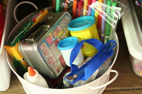 Bucket of craft supplies