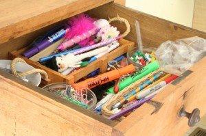 cluttered pens office supplies